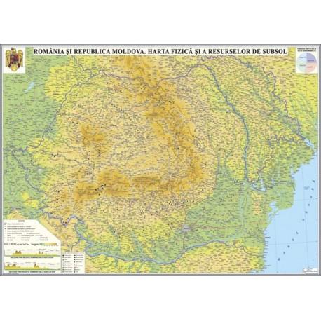 Romania si Republica Moldova.Harta fizica