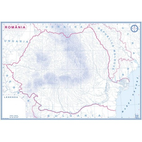Romania si Republica Moldova. Harta de contur + 1 set de marcher