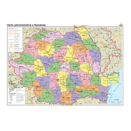 Romania: Harta administrativa si a principalelor cai de comunica