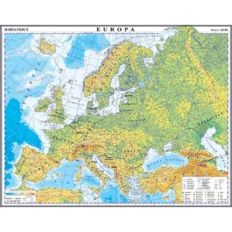 Europa. Harta fizica si a resurselor de subsol.