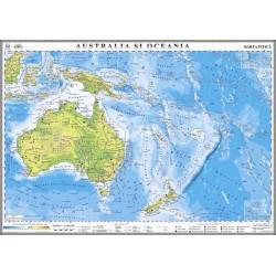 Harta fizica a Australiei si Oceaniei