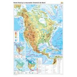 Harta fizico-geografica si a principalelor resurse naturale de subsol a Americii de Nord