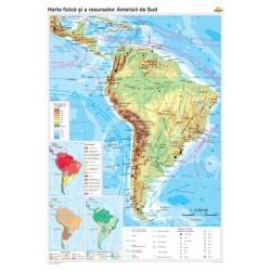 Harta fizico-geografica si a principalelor resurse naturale de subsol a Americii de Sud