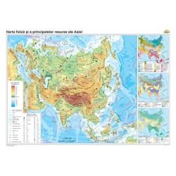 Harta fizico-geografica si a principalelor resurse naturale de subsol a Asiei