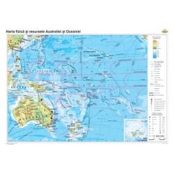 Australia si Oceania: Harta fizico-geografica, politica si a pri