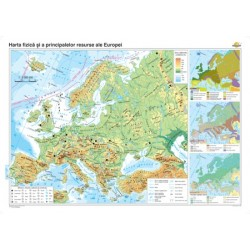 Harta fizico-geografica si a principalelor resurse naturale de subsol a Europei