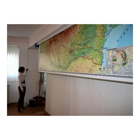 Romania si Rep. Moldova. Harta fizica, administrativa si a subst