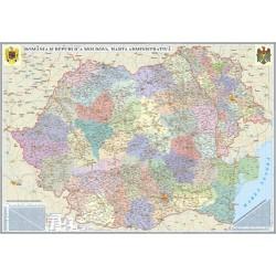 Harta Romania si Republica Moldova. Harta administrativa, cu sistem de rulare 3500x2400