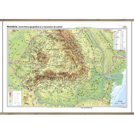 Harta fizico-geografica si a resurselor naturale de subsol a Romaniei