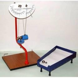 Dispozitiv pentru studiul aruncarii orizontale, conservarii impulsului si pendul balistic