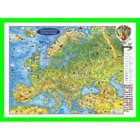 Harta Europei pentru copii (proiecţie 3D)