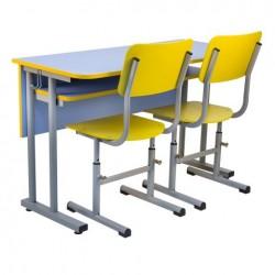 Banca scolara dubla fixa cu 2 scaune reglabile - QUARZ-L