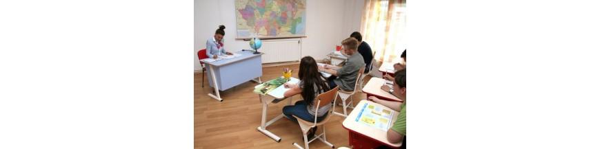 Mobilier scolar auxiliar. Catedre, dulapuri, cuiere, scaune scolare